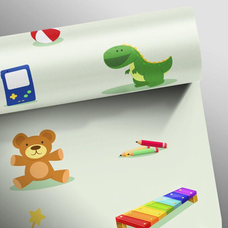 Papel de Parede Brinquedos Verde Claro  - TaColado