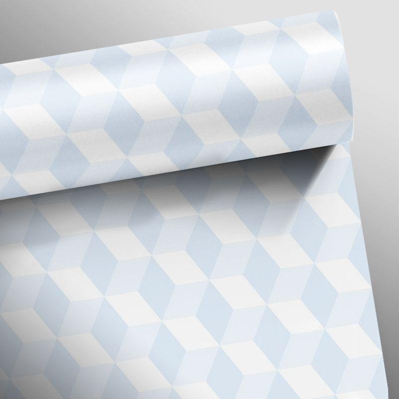 Papel de Parede Cubo 3D Azul  - TaColado
