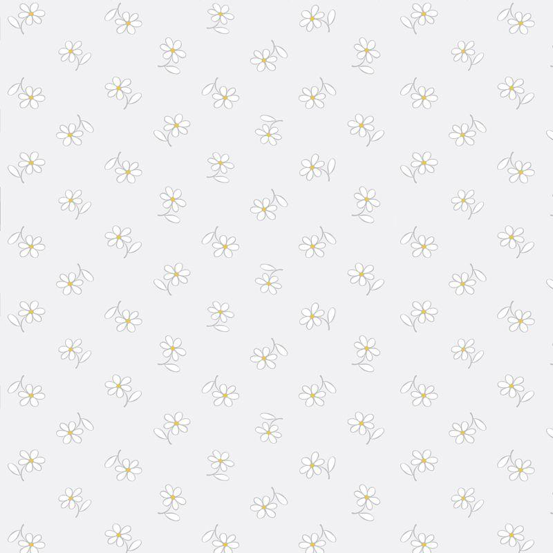 Papel de Parede Floral Bem Me Quer Cinza Claro  - TaColado
