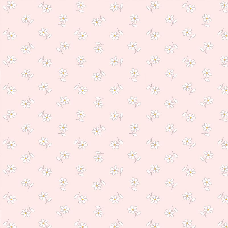 Papel de Parede Floral Bem Me Quer Rosa Claro  - TaColado