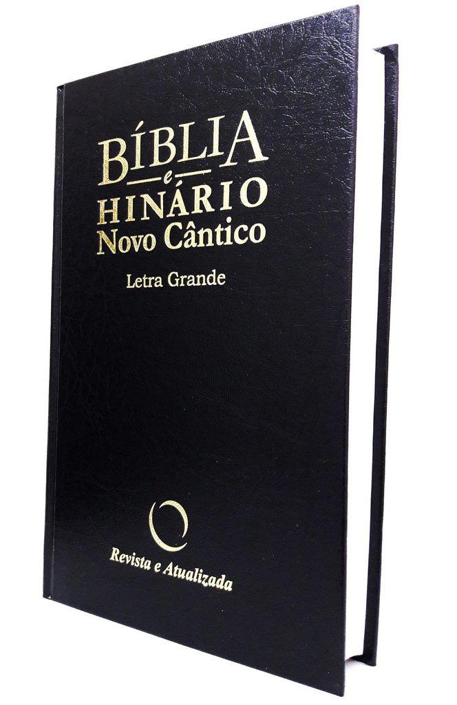 Bíblia com Hinário Novo Cântico - LG capa dura preta/azul 14x21cm