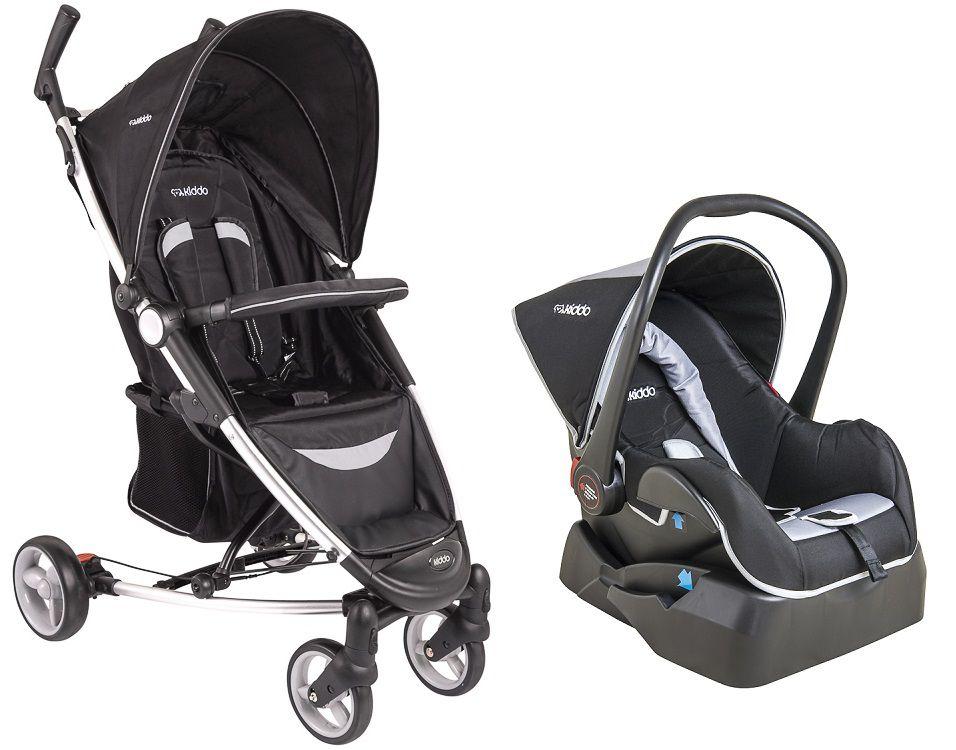Carrinho Travel System + Bebê Conforto Base Helios Kiddo Preto