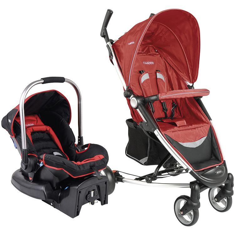 Carrinho Travel System + Bebê Conforto Base Helios Kiddo Vermelho