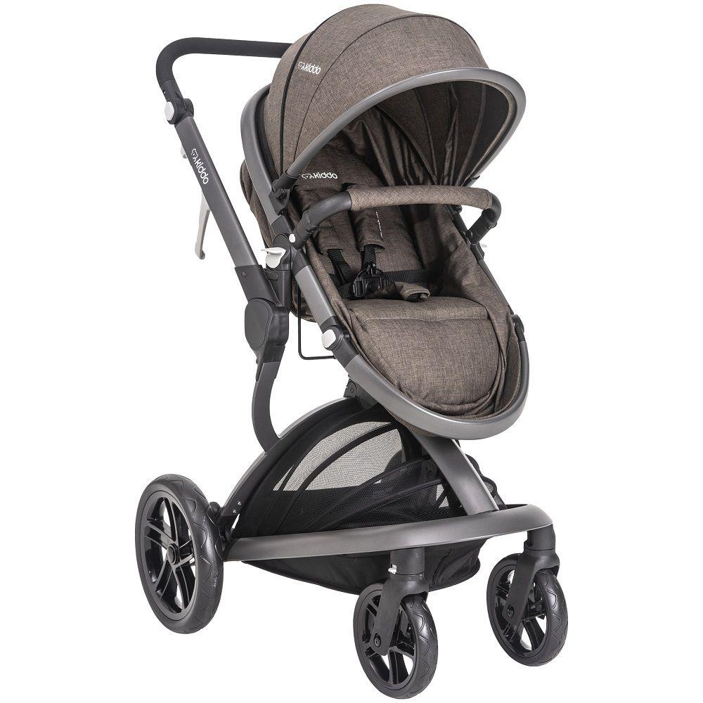 Carrinho Travel System Moisés Quantum + Bebê Conforto E Base Kiddo Marrom