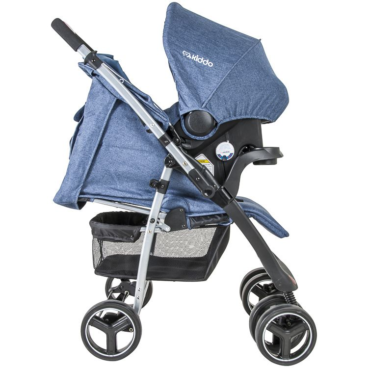 Carrinho Travel System Zap Reversível + Bebê Conforto Azul Kiddo
