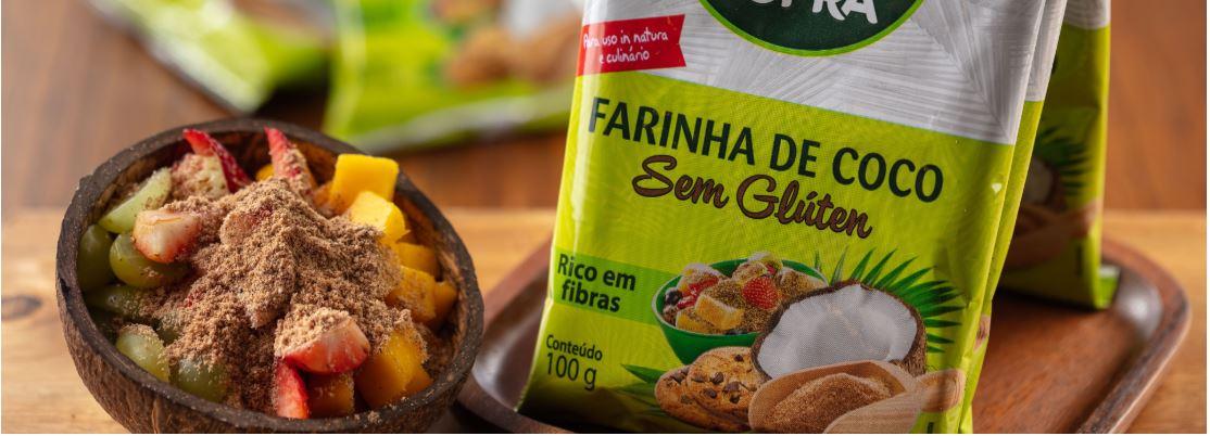 Farinha de Coco Copra Sem Gluten Rico em Fibras 400g