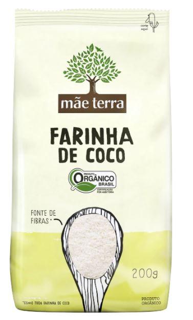 Farinha de coco Orgânica Mãe Terra 200g Fonte de Fibras