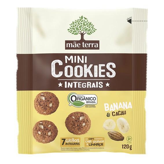 Mini Cookies Banana e Cacau Orgânico Mãe Terra 120g