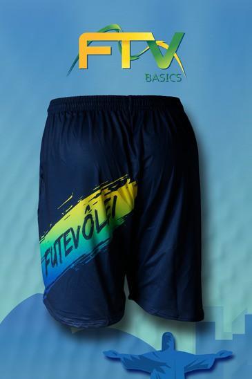 Shorts  FTV Basics Azul Marinho com verde