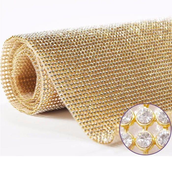 Manta de Strass 10x40 cm Cor Dourada