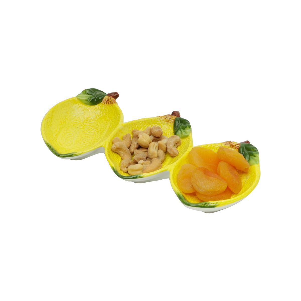Petisqueira de Cerâmica Tripla Lemons 26x11 Código 26747 Embalagem Anti Impacto