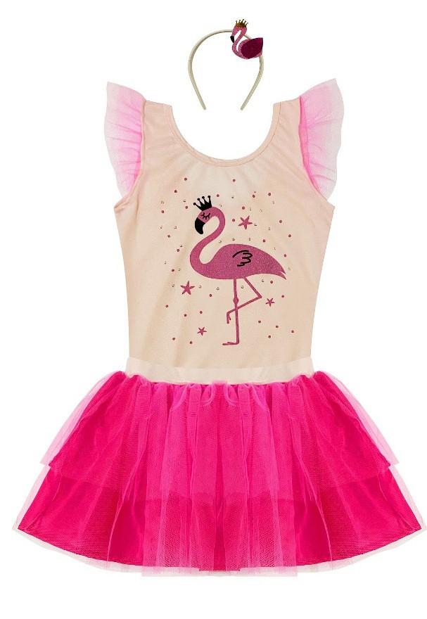 Fantasia Do Flamingo De Saia E Body Douvelin Rosa Ser Garota Ser Garoto Douvelin
