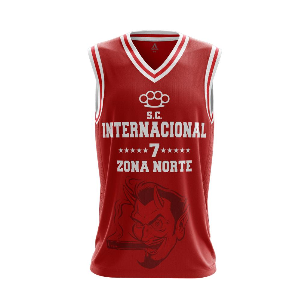 Camisa de Basquete Vermelha da Zona Norte