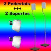 KIT 4 PEÇAS - pedestal e suporte de parede para home theater