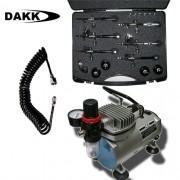 kit completo de compressor e maleta profissional de 6 aerógrafos e mangueira espiral