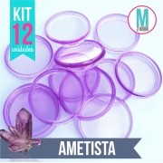 Kit 12 Discos M 24mm de Caderno Infinito Sistema Inteligente Translúcido Ametista Liso Amor Infinito