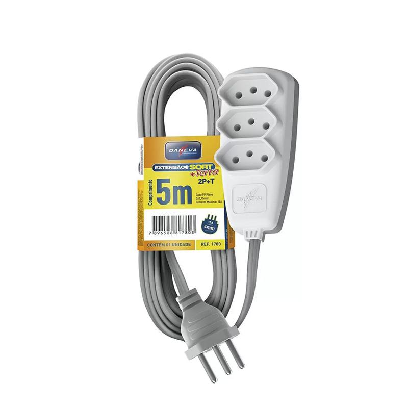 Extensão Elétrica Sort 2P+T PP 5M 1780 Daneva