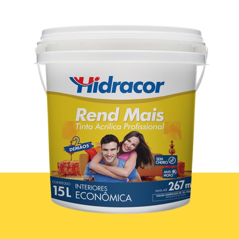 Tinta Acrilica Rendmais Fosca 15L Amarelo Canario Hidracor