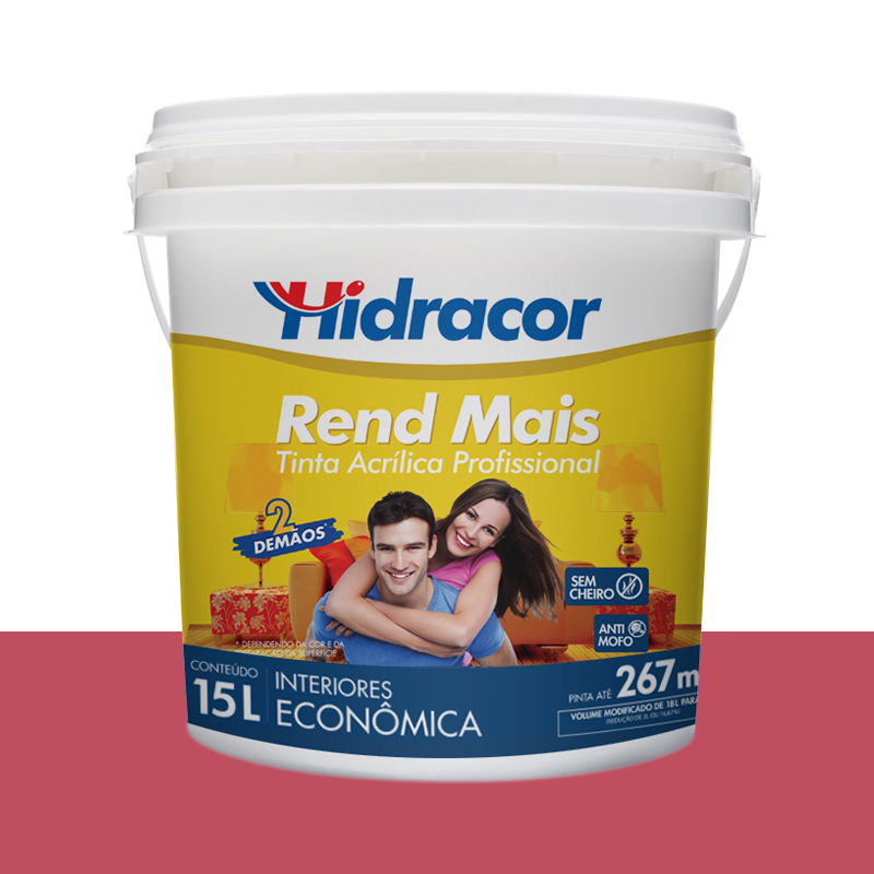 Tinta Acrilica Rendmais Fosca 15L Framboesa Hidracor
