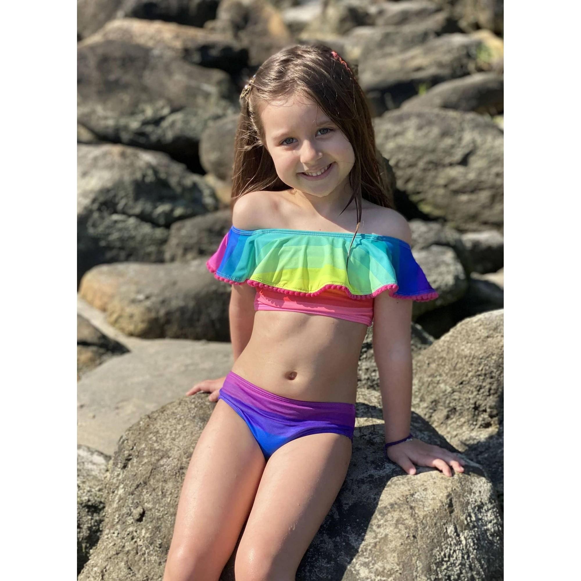 Biquíni Lycra Proteção UPF50+ Babado Venice Rainbow - Verão 2021