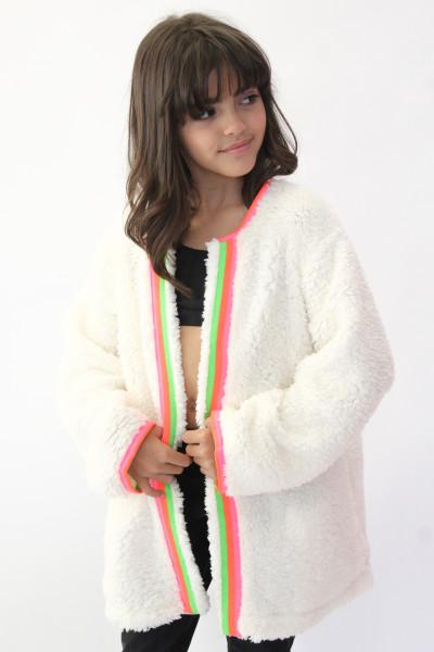 Casaco Wool Branco com detalhe colorido