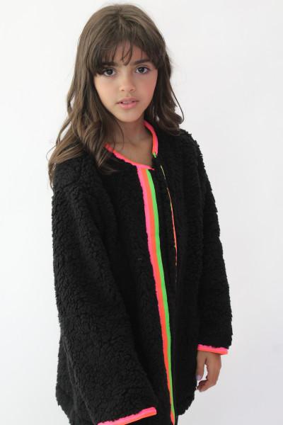 Casaco Wool Preto com detalhe colorido