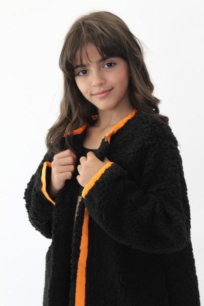 Casaco Wool Preto com detalhe laranja