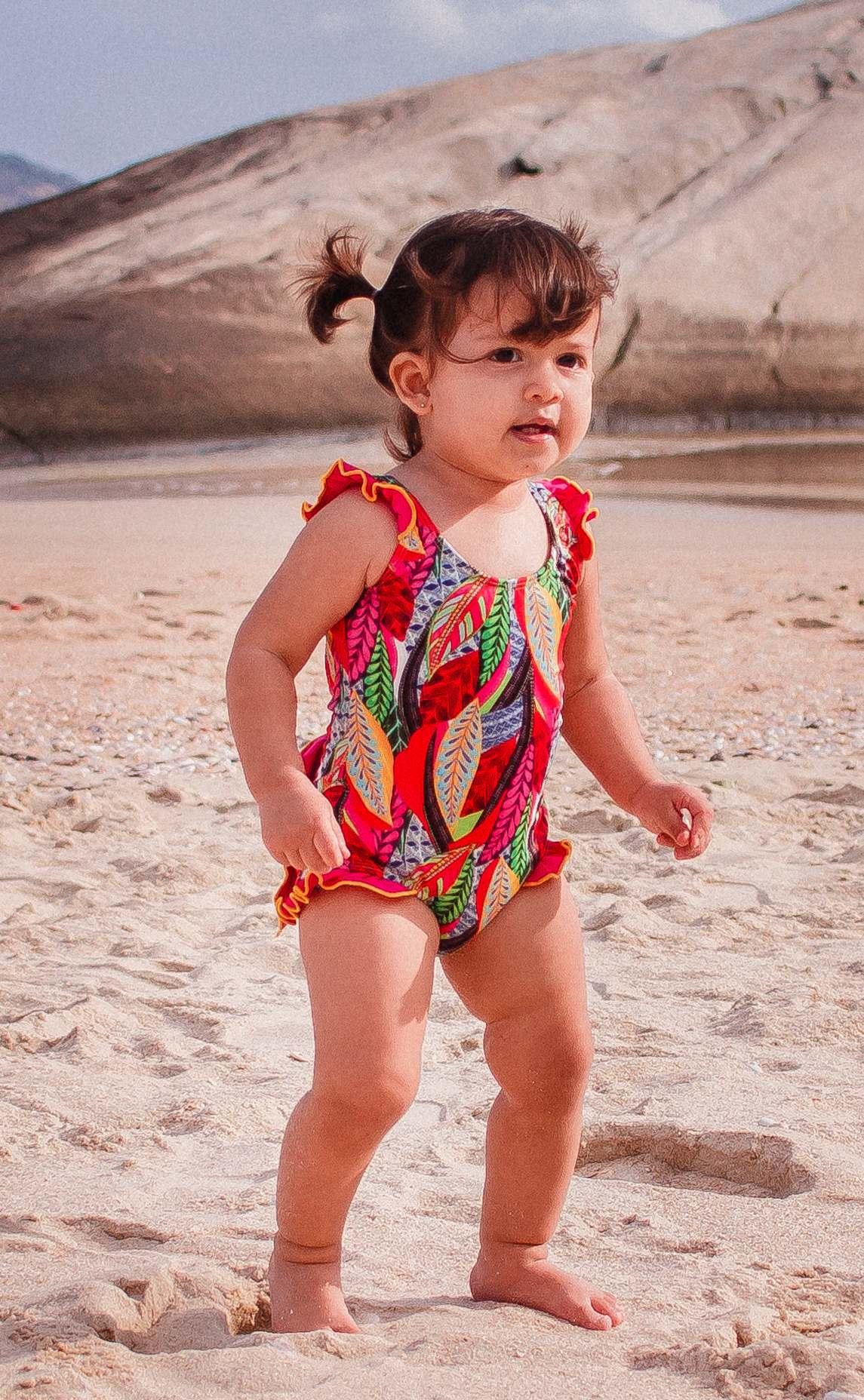 Maiô Lycra Proteção UPF50+ Bebê Color Plume - Verão 2019