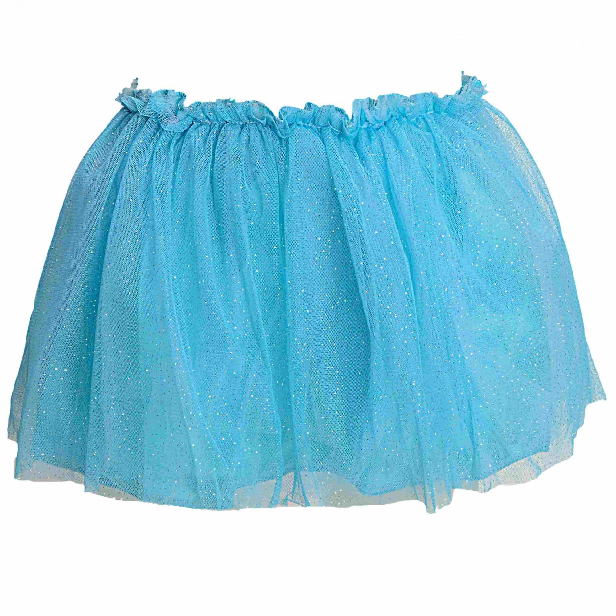 Saia Tutu Glitter Com Forro Azul Claro