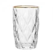 6 copos altos de vidro c/ fio de ouro diamond -350ml