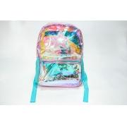 Mochila escolar rosa c/ azul