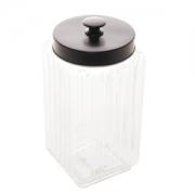 Pote de vidro sodo-calcico c/ tampa de metal preta 2,3L