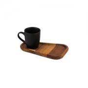 Xícara café c/prato madeira teca e colher