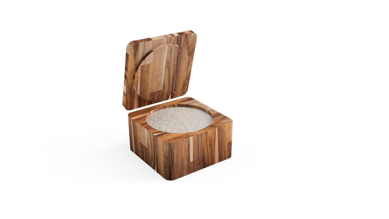 Saleiro madeira teca ''P''