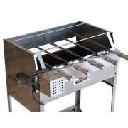 Churrasqueira Giratória em Inox Tamanho 65x41 Com Kit Giratório 5 Espetos