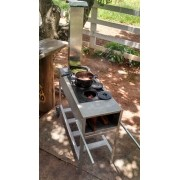 Fogão a Lenha Inox Portátil Master 105x40 Com Chapa de Ferro Fundido Três Furos e Redutor