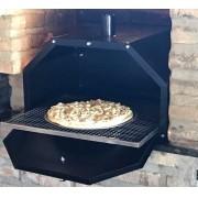 Forno Muitiuso Pizza Frango Carnes Para Encaixar na Churrasqueira Medida 60x45 Com Grelha Inox e Assadeira Pintado