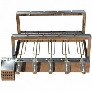 Kit Giratório Inox 60x45 Com 5 Espetos Bivolt 110 e 220
