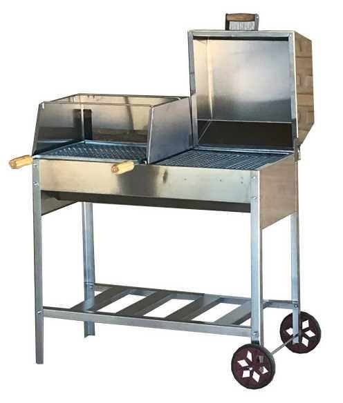 Churrasqueira Gourmet Mista 85x41 Em Aço Inox Com Rodas Em Pvc e Grelhas