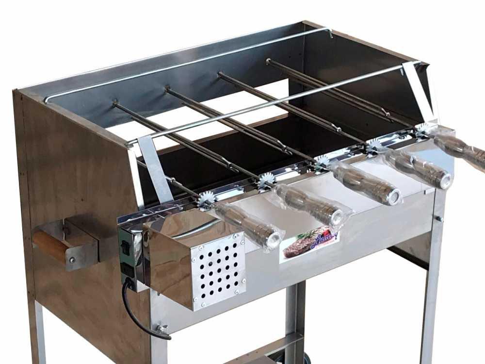 Churrasqueira Inox Luxo 65x41 Com Kit Giratório Inox 5 Espetos