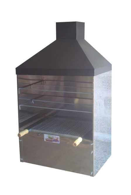Churrasqueira Inox luxo 65x41 Com Coifa Preta Gourmet Parede ou Bancada Com Kit Giratório 5 Espetos de Encaixe