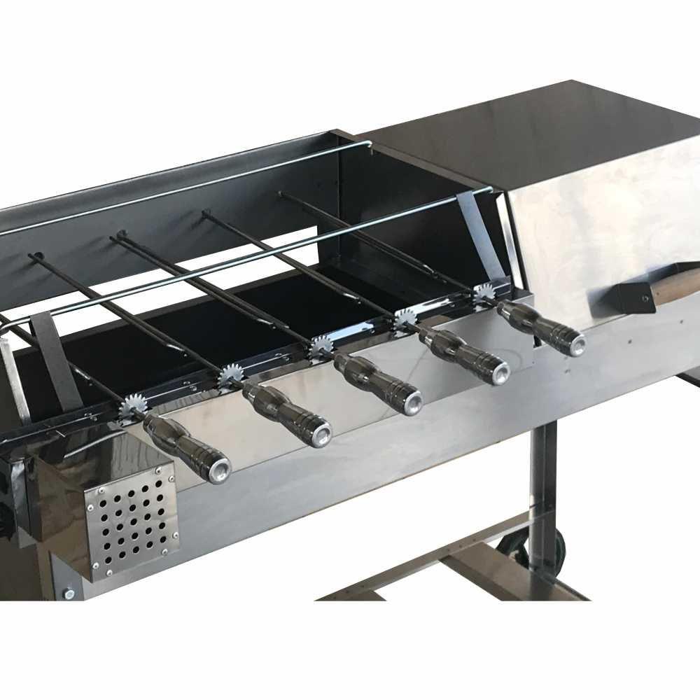 Churrasqueira Inox Mista Bafo e Grill Grande Tamanho 108x41 Com Kit Giratório 5 Espetos