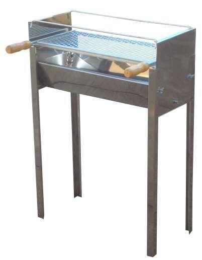 Churrasqueira Inox Portátil Prática Para Espetinho 60x25 e Grelha