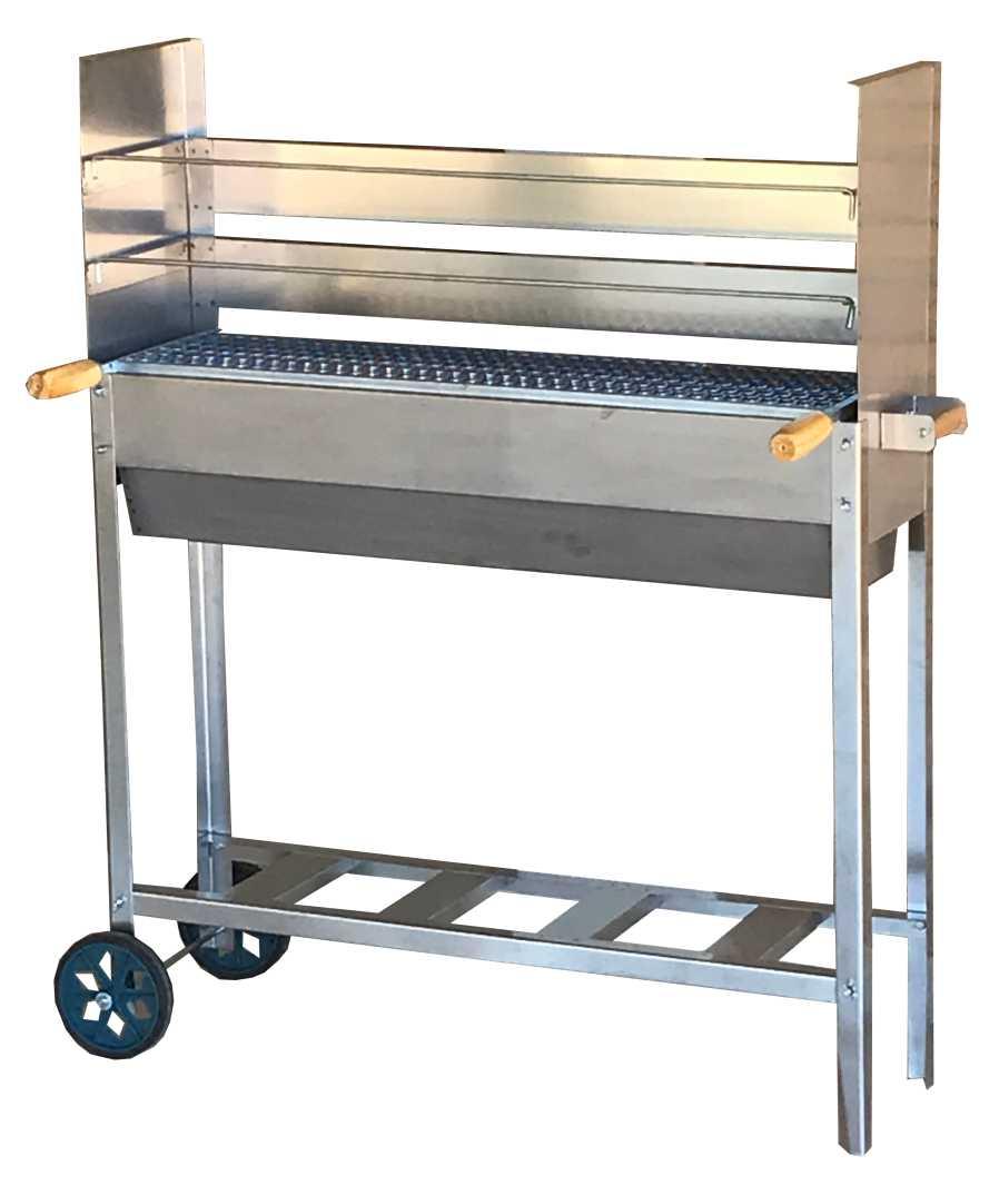 Churrasqueira Para Espetinho Inox 75x25 Reforçada Três Alturas Rodinhas e 2 Grelhas