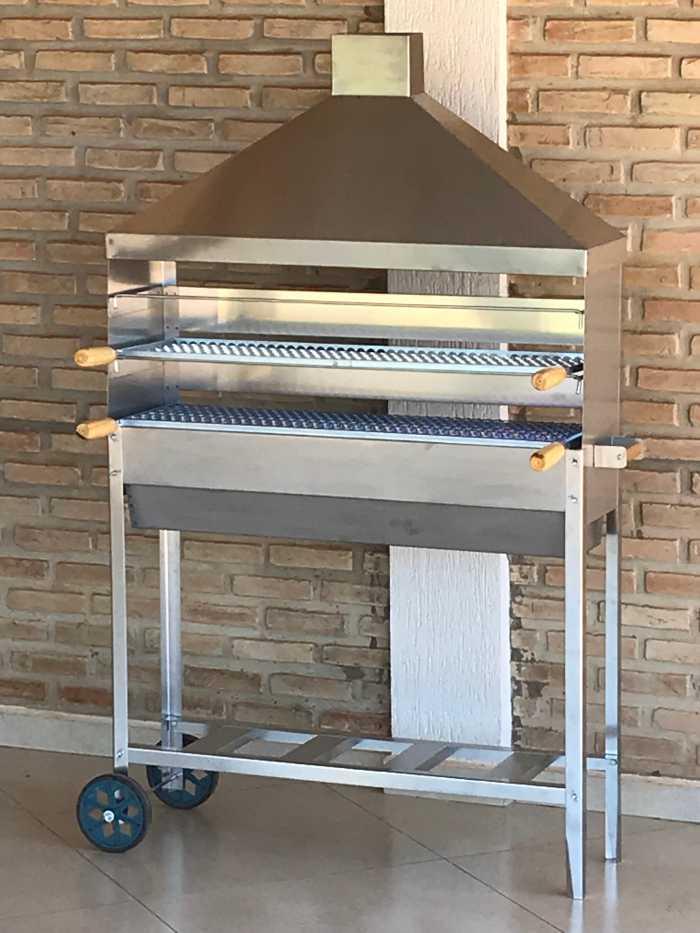 Churrasqueira Para Espetinho Inox Coifa Inox Tamanho 95x25 Com 03 Grelhas Inox 90x25