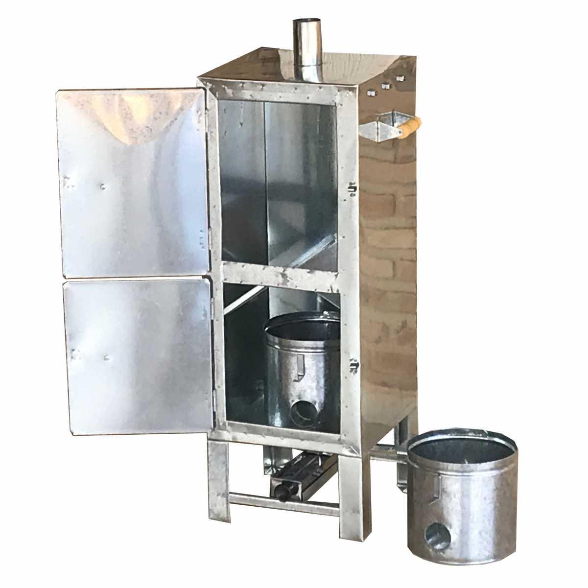 Defumador de Alimentos Artesanal Galvanizado Tamanho 80x30x30 Com 2 Balde Para Serragem