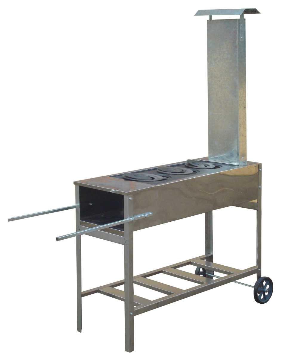 Fogão a Lenha Inox Portátil Standart 95x35 Com Chapa de Ferro Fundido Três Furos