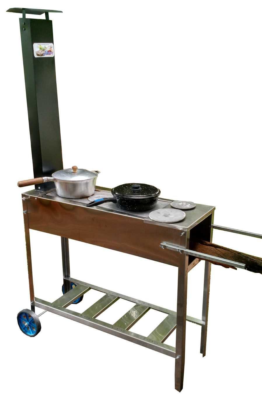 Fogão a Lenha Portátil Inox 95x35 Com Chapa de Ferro Três Furos Rodas e Chaminé