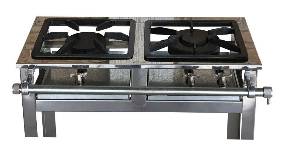 Fogão Industrial Inox 2 Bocas 30X30 Queimadores Simples e Duplo Reforçado Em AÇO INOX