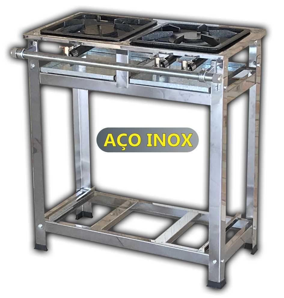 Fogão Industrial Inox 2 Duas Bocas de Baixa Pressão Queimador Simples e Duplo